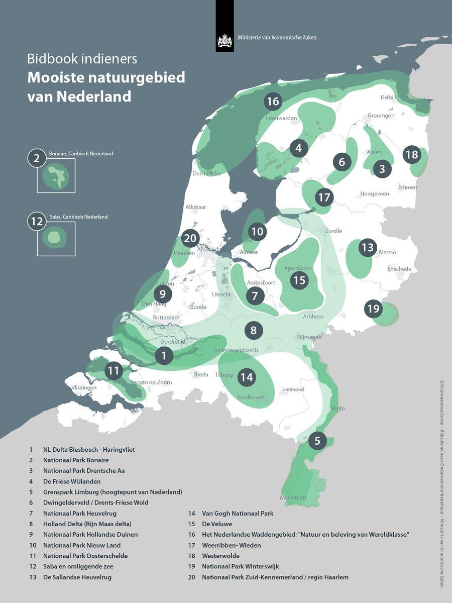 Overzicht specifieke ligging deel van Nationale Parken in Nederland[10]