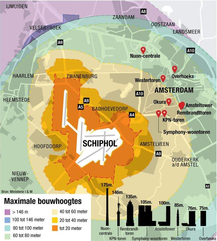Maximale bouwhoogtes omgeving Schiphol