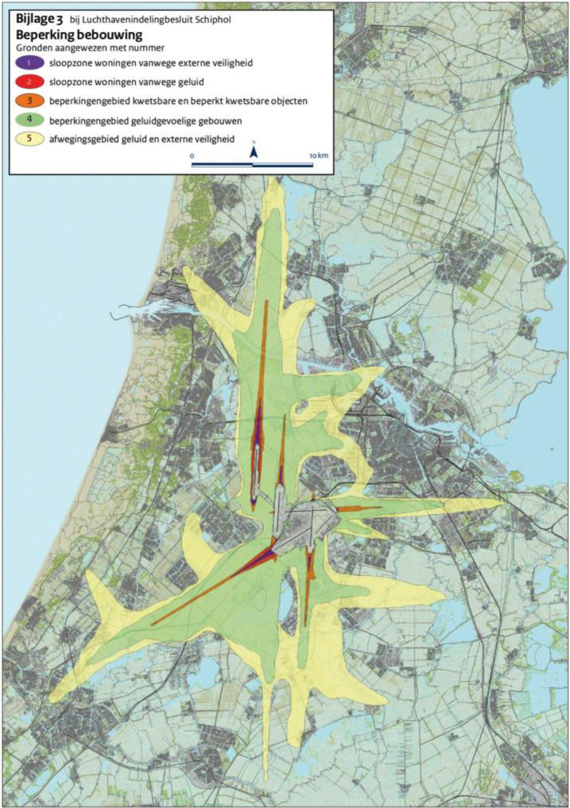 Beperkingenzones bebouwing rondom Schiphol (Bron: Ministerie van IenW, 2018)