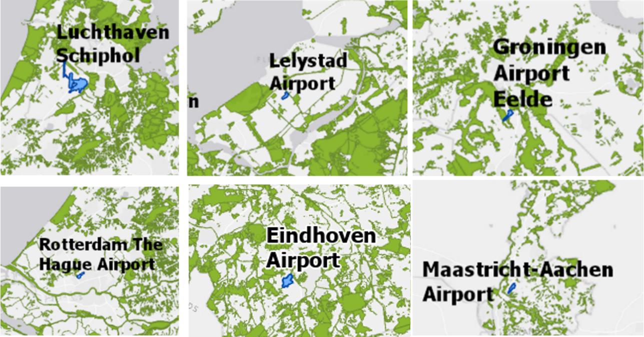 Natuurgebieden die deel uitmaken van Natuur Netwerk Nederland nabij vliegvelden