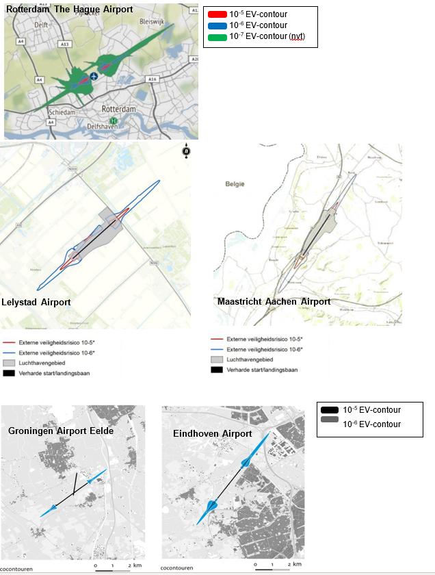 Externe veiligheid (EV) contouren van de vijf regionale luchthavens